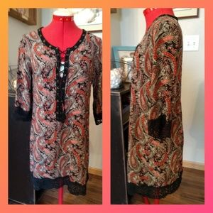 Miss Me Paisley tunic mini dress S lace trim